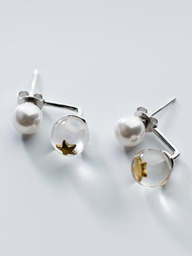 Elegant Star Shaped Artificial Pearl Silver Stud Earrings