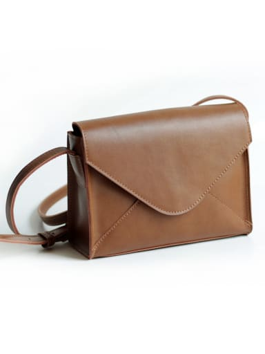 Second layer cowhide vintage brown envelope bag
