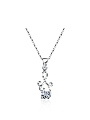 Simple Elegant Zircon Silver Necklace