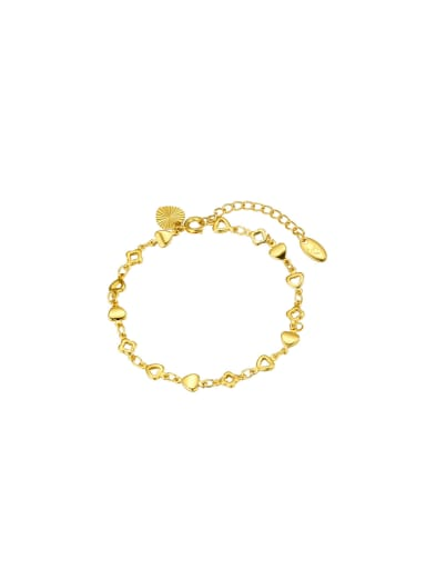 Copper Alloy 23K Gold Plated Fashion Clover Heart Bracelet