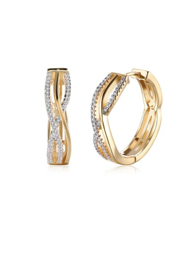 18K Gold Zircon hoop earring