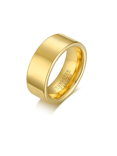 Stainless Steel With Gold Plated Simplistic Smooth Round Men Rings