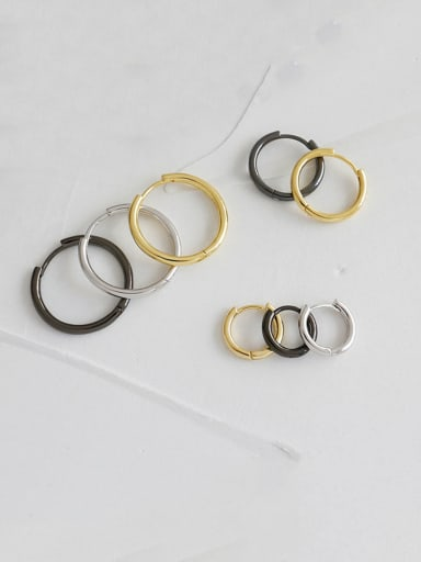 925 Sterling Silver With Gold Plated Simplistic Round Clip On Earrings