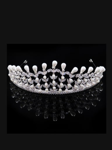 Luxury Noble Micro Pave Zircons Artificial Pearls Hair Accessories