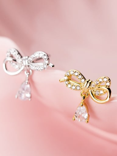 925 Sterling Silver With Cubic Zirconia Fashion Bowknot Stud Earrings