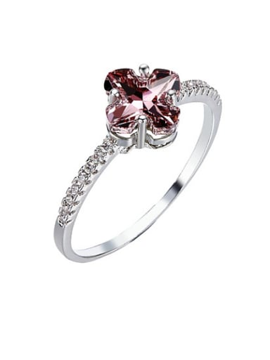 Clover Shaped Crystal Engagement Ring