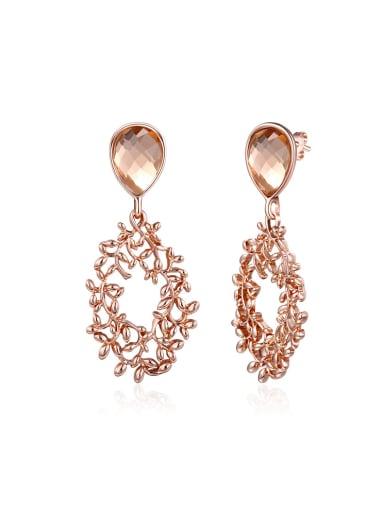 Luxury Champagne Flower Vine Shaped Earrings