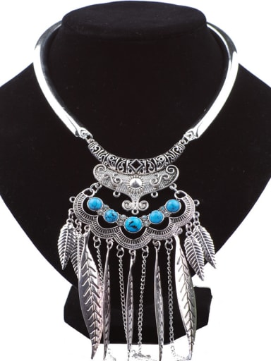 Retro style Leaves Tassels Little Stones Alloy Necklace