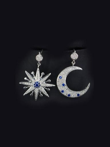 Star Moon Zircon Drop Cluster earring