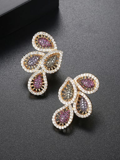 Fashion feather AAA Zircon Earrings