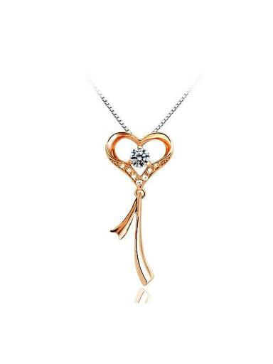Fashion Heart Key Cubic Zirconias Copper Pendant
