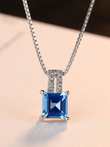 Sterling silver micro-inlaid zircon blue square synthetic topaz necklace