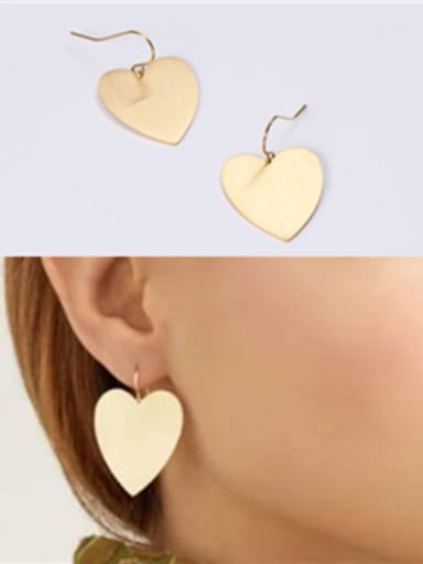 Titanium With Gold Plated Simplistic Heart Chandelier Earrings