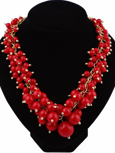 Exaggerated Red Resin Beads Gold Plated Alloy Necklace