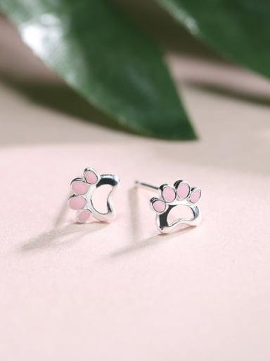 Tiny Pink Dog Footprint Enamel 925 Silver Stud Earrings