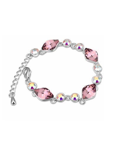 Fashion Rhombus Swarovski Crystals Platinum Plated Bracelet