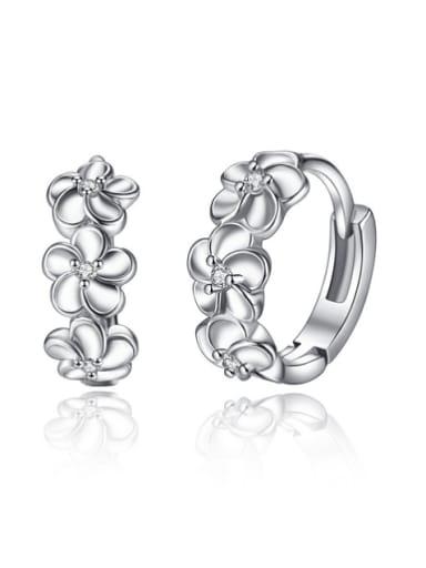 Fashion Tiny Zirconias Flowers Copper Earrings