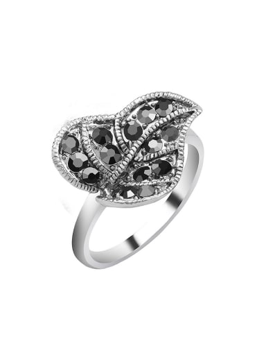 Personalized Leaf Grey Crystals Alloy Ring