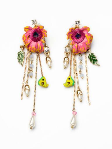 Fashion Colorful Flower-Shaped Alloy Drop Chandelier earring