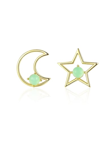 925 Sterling Silver With multicolor Opal Cute Stars moon asymmetry Stud Earrings