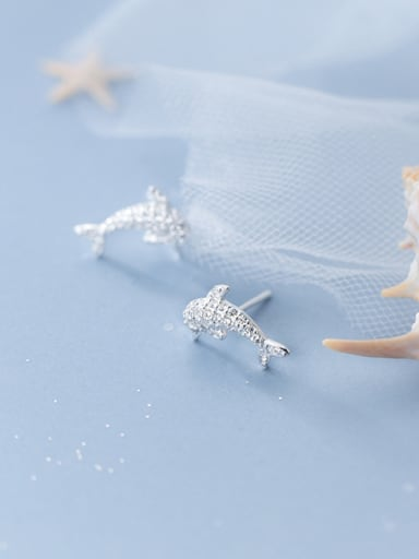 925 Sterling Silver With Silver Plated Cute Dolphin Stud Earrings