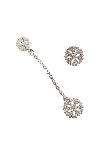 Fashion Asymmetrical Snowflake Cubic Zirconias Silver Stud Earrings
