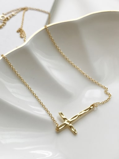 New 925 Silver plated gold Cross Necklace