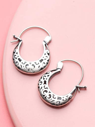 Retro Flower Pattern Shaped S925 Silver Clip Earrings