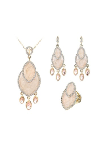 Fashion Shell Pink Crystals White Rhinestones Alloy Three Pieces Jewelry Set