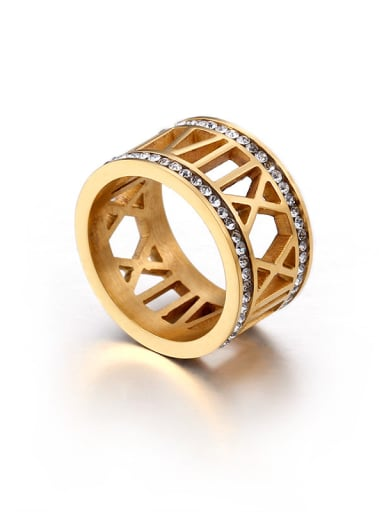 Stainless Steel With 18k Gold Plated Rhinestone Fashion Rings