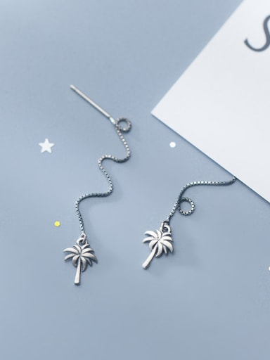 925 Sterling Silver With Antique Silver Plated Fashion Coconut Tree Threader Earrings