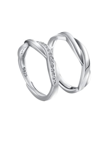925 Sterling Silver With Cubic Zirconia  Simplistic Loves Free size  Rings