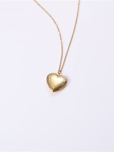 Titanium With Gold Plated Simplistic  Smooth  Heart Locket Necklace