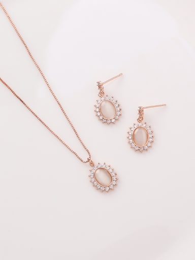 Alloy With Rose Gold Plated Simplistic Oval 2 Piece Jewelry Set