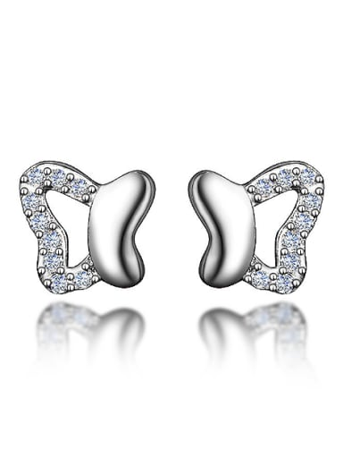 Tiny 925 Sterling Silver Butterfly Shiny Zirconias Stud Earrings