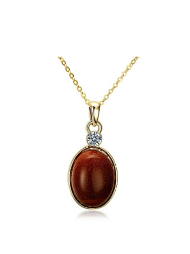Retro style Oval Stone Necklace