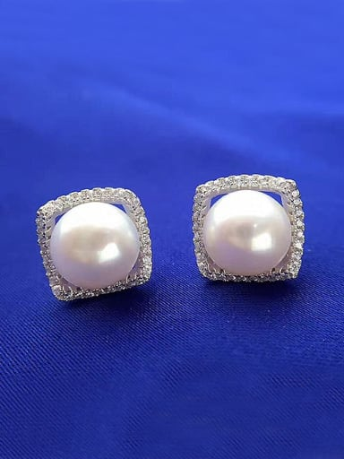 Fashion Freshwater Pearl Square stud Earring