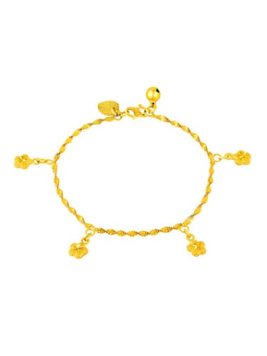 Women Exquisite Gold Plated Flower Shaped Copper Bracelet