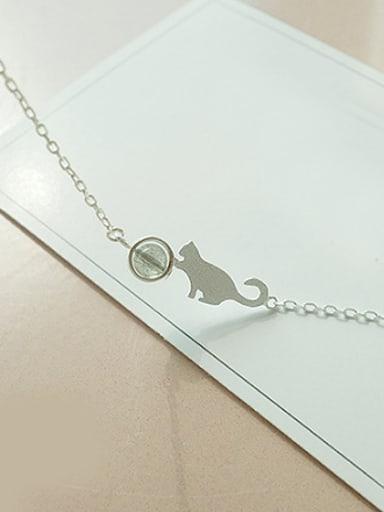 Little Cat Stone Silver Bracelet