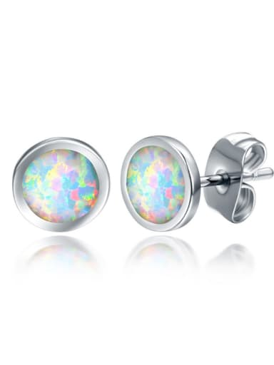 Simple Personality White Gold Plated Stud Earrings