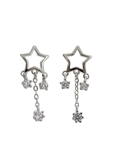 Fashion Hollow Star Cubic Zirconias Silver Stud Earrings