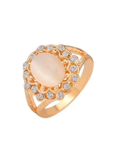 Retro style Opal stone Rhinestones Flowery Alloy Ring
