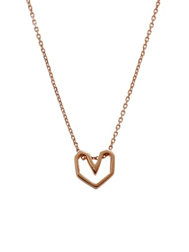Simple Hollow Heart Pendant Silver Necklace