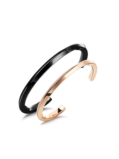 Simple Titanium Plating Opening Lovers Bangle