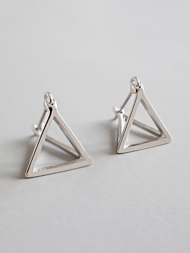Sterling silver simple geometric hollow three-dimensional triangular earrings