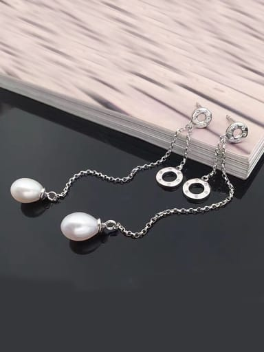 Freshwater Pearl Drop threader earring