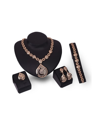 Alloy Imitation-gold Plated Vintage style Water Drop shaped Four Pieces Jewelry Set