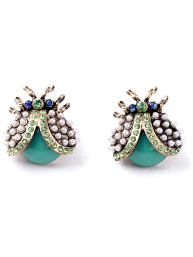 Lovely Insect Shaped Stones Alloy stud Earring
