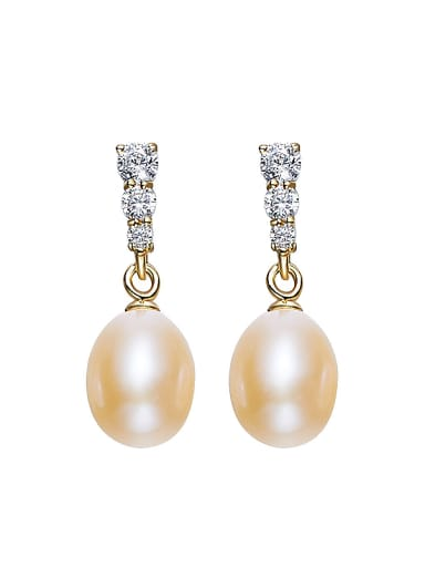 Fashion Freshwater Pearl Zircon Stud Earrings