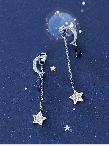 925 Sterling Silver With Cubic Zirconia Personality Star Moon Drop Earrings